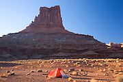 Camping along the White Rim Trail at the Airport Campground, Islands in the Sky District, Canyonlands National Park, near Moab, Utah.