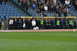 March 31, 2018 - Rome, Lazio, Italy - the players lined up for the minute of silence in memory of Emiliano Mondonico during the Italian Serie A football match between S.S. Lazio and Benevento at the Olympic Stadium in Rome, on march 31, 2018. (Credit Image: © Silvia Lore/NurPhoto via ZUMA Press)