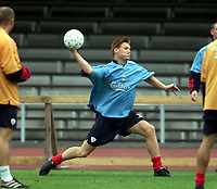 Fotball: Liverpool's John Arne Riise training at the Olympic Stadium in Helsinki ahead of the Reds' first ever UEFA Champions League game against FC Haka.