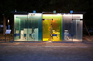 Glass see-thru public toilets in Japan