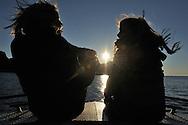 Mimmi Widstrand and Julia on a boat, Flatanger, Nord-Trøndelag, Norway