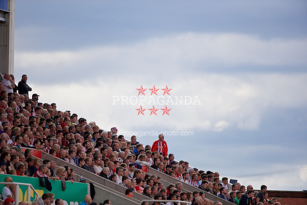 STOKE-ON-TRENT, ENGLAND - Sunday, August 9, 2015: Stoke City supporters during the Premier League match against Liverpool at the Britannia Stadium. (Pic by David Rawcliffe/Propaganda)