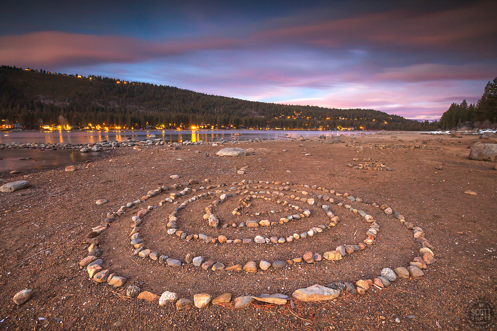 """""""Spiral Rocks at Sunset 1"""" - Photograph of a spiral rock formation at sunset along the South East shore of Donner Lake in Truckee, California."""