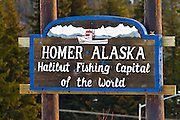 """A welcome sign outside of Homer indicating that Homer is the """"Fishing Capital fo the World""""."""