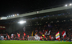 LIVERPOOL, ENGLAND - Wednesday, March 11, 2020: Liverpool supporters on the Spion Kop before the UEFA Champions League Round of 16 2nd Leg match between Liverpool FC and Club Atlético de Madrid at Anfield. (Pic by David Rawcliffe/Propaganda)