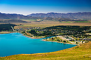 The town of Lake Tekapo from the Mt. John Observatory, Canterbury, South Island, New Zealand