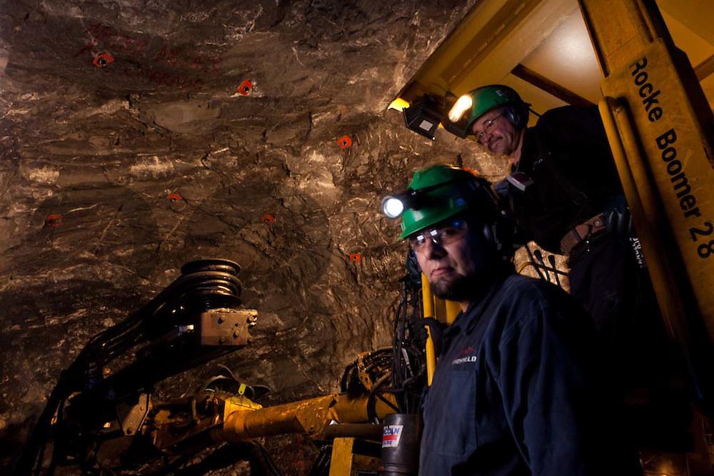 Saucito, development site. Fresnillo plc. Fresnillo, Zacatecas, Mexico. Rampa 5 Negativa, San Carlos. Mine works.
