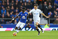 Idrissa Gueye of Everton looking to get away from Jack Cork of Swansea City. Premier league match, Everton v Swansea city at Goodison Park in Liverpool, Merseyside on Saturday 19th November 2016.<br /> pic by Chris Stading, Andrew Orchard sports photography.