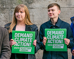 Hunter Square, Edinburgh, Scotland, United Kingdom, 28 November 2019. General Election: The Scottish Greens demand action about climate change as part of their general election campaign. Pictured (L to R) Gillian Mackay, Scottish Green Party candidate for Linlithgow & East Falkirk and Cameron Glasgow, Scottish Green candidate for Livingston (and youngest Scottish candidate  at 19 years of age).<br /> Sally Anderson | EdinburghElitemedia.co.uk