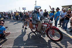 Bob Wooldridge riding his 1913 Sears Dreadnought motorcycle leaves the start of the Motorcycle Cannonball Race of the Century. Stage-1 from Atlantic City, NJ to York, PA. USA. Saturday September 10, 2016. Photography ©2016 Michael Lichter.