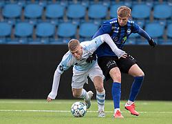 Teddy Bergqvist (FC Helsingør) og Magnus Wørts (HB Køge) under træningskampen mellem FC Helsingør og HB Køge den 22. februar 2020 på Helsingør Ny Stadion (Foto: Claus Birch).