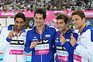 Italy win bronze in the 4 x 200m Freestyle during Day 13 of the 2016 LEN European Aquatics Championship Swimming Finals at the London Aquatics Centre, London, United Kingdom on 21 May 2016. Photo by Martin Cole.