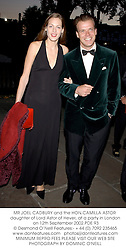 MR JOEL CADBURY and the HON.CAMILLA ASTOR daughter of Lord Astor of Hever, at a party in London on 12th September 2002.PDE 93
