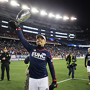 Charlie Davies, New England Revolution, with the trophy after his two goals secured an aggregate victory for his side during the New England Revolution Vs New York Red Bulls, MLS Eastern Conference Final, second leg. Gillette Stadium, Foxborough, Massachusetts, USA. 29th November 2014. Photo Tim Clayton