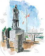 "The Leif Erikson statue at Shilshole Marina turned 50 in 2012. A gift from local Scandinavians, the 17-foot sculpture of the Viking explorer had a rough start. Deemed ""unexciting"" by some city art officials, the monument wouldn't be here today if the Port of Seattle hadn't accepted it. (Gabriel Campanario / The Seattle Times)"