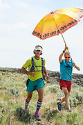 Jesse Haynes, and super support man Jereme Monteau (Mr Clutch), bringing Jesse (and Jeff) into a water refill spot during the very hot days of the last darkness project, Owyhee canyons, OR.   /////  The last darkness project. Jesse Haynes and Jeff Browning on a supported attempt to trail run the rugged Owyhee Canyonlands in eastern Oregon. Jesse and Jeff set out to run a 175 mile stretch of the 800 mile Oregon Desert trail. Turns out it was quite the adventure and more then we bargained for. Supported by Jereme Monteau.