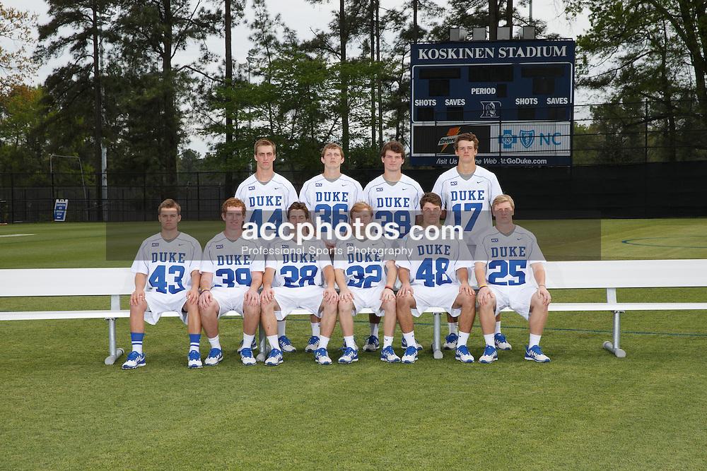 2014 April 18: Duke lacrosse 2014 freshmen team photo. (Photo by Peyton Williams for Duke Athletics)<br /> <br /> Front Row: Calder Alfano #43, Ian Yanulis #39, Danny Fowler #28, Tripp Transou #32, Teddy Henderson #48, Garrett Van de Ven #25<br /> <br /> Back Row: Ethan Powley #44, Jack Bruckner #36, Brian Dunne #38, Thomas Zenker #17