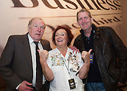 03/11/2016 Repro fee: Rita Gilligan's book The Rock 'n' Roll Waitress from The Hard Rock Cafe My Life by Rita Gilligan in Hotel Meyrick, Galway was launched my Cllr. Noel Larkin Mayor of Galway. At the launch were a Paddy and Tom Fahy with author Rita Gilligan<br />   Photo :Andrew Downes, XPOSURE