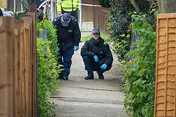 © Licensed to London News Pictures. 12/04/2017. London, UK. Police search an alleyway off Newnham Close where a 19 year old man, named locally as Abdullahi Tarabai,  was murdered yesterday after reportedly being chased though a housing estate in Northolt. This is the second fatal stabbing in the capital in 24 hours. The location is adjacent to a gun siege from October 2016. Four men have been arrested Photo credit: Peter Macdiarmid/LNP
