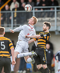 Falkirk's Mark Beck and Alloa Athletic's Ben Gordon.<br /> Alloa Athletic 3 v 0 Falkirk, Scottish Championship game played today at Alloa Athletic's home ground, Recreation Park.<br /> © Michael Schofield.
