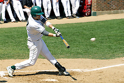 21 April 2007:  Jesse Foster makes contact with a pitch. Carthage College loses the first game of a double header by a score of 5-2 against the Illinois Wesleyan Titans.