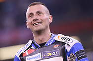 Leon Madsen smiles as he wins the 2019 Adrian Flux British FIM Speedway Grand Prix at the Principality Stadium, Cardiff, Wales on 21 September 2019.