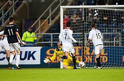 Falkirk's keeper Michael McGovern saves from Raith Rovers Calum Elliot's shot.<br /> Falkirk 3 v 1 Raith Rovers, Scottish Championship game at The Falkirk Stadium.