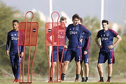 (L-R), Mitchell Dijks of Ajax, Matthijs de Ligt of Ajax, Maximilian Wober of Ajax, Jurgen Ekkelenkamp of Ajax during a training session of Ajax Amsterdam at the Cascada Resort on January 10, 2018 in Lagos, Portugal