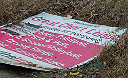 © Licensed to London News Pictures 10/03/2021. Ashford, UK. An old sign at the site. Teams of police officers are at Great Chart Leisure in Ashford Kent, which is believed to be part of an ongoing investigation into the disappearance of Sarah Everard from London. Photo credit:Grant Falvey/LNP