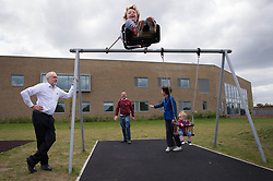 Labour leader Jeremy Corbyn with Labour candidate for Oxford East, Anneliese Dodds and her children Freddie and Isabella (right) and her husband Ed (second left) at Rose Hill Community Centre, Oxford.