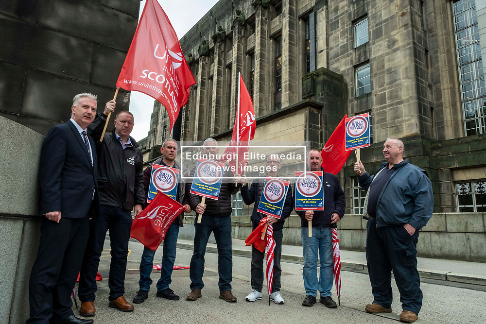 Pictured: <br />Paul Sweeney, Labour and Co-operative MP for Glasgow North East, was joined by MSP James Kelly and engineering workers as he handed in a petition at St Andrews House in Edinburgh today highlighting the final scheduled week of work at the St Rollox railway engineering works in Springburn which demands action to prevent the unnecessary loss of 200 skilled jobs in his constituency.<br /><br />Ger Harley   EEm 23 July 2019