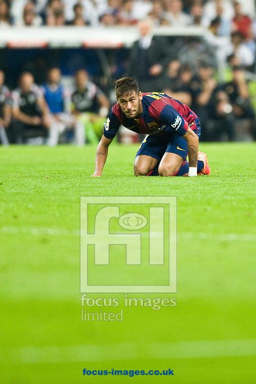 Neymar of FC Barcelona during the La Liga match at the Estadio Santiago Bernabeu, Madrid<br /> Picture by Marcos Calvo Mesa/Focus Images Ltd +34 654142934<br /> 25/10/2014