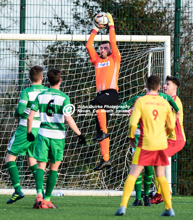 Trim Celtic goalkeeper, Aaron Ryan, gathers well under pressure    in the Trim Celtic v Avenue Utd FAI Leinster Junior cup game at MDL grounds, Navan .<br /> <br /> Photo: GERRY SHANAHAN-WWW.QUIRKE.IE<br /> <br /> 17-01-2020
