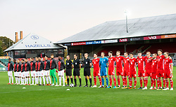 NEWPORT, WALES - Tuesday, October 16, 2018: The two teams line up for the anthems ahead of the UEFA Under-21 Championship Italy 2019 Qualifying Group B match between Wales and Switzerland at Rodney Parade. (Pic by Laura Malkin/Propaganda)