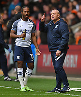 Preston North End's Manager Frankie McAvoy has words with Daniel Johnson<br /> <br /> Photographer Dave Howarth/CameraSport<br /> <br /> The EFL Sky Bet Championship - Blackpool v Preston North End - Saturday 23rd October 2021 - Bloomfield Road - Blackpool<br /> <br /> World Copyright © 2020 CameraSport. All rights reserved. 43 Linden Ave. Countesthorpe. Leicester. England. LE8 5PG - Tel: +44 (0) 116 277 4147 - admin@camerasport.com - www.camerasport.com