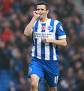 Brighton player Jamie Murphy celebrates after scoring during the Sky Bet Championship match between Brighton and Hove Albion and Milton Keynes Dons at the American Express Community Stadium, Brighton and Hove, England on 7 November 2015. Photo by Bennett Dean.