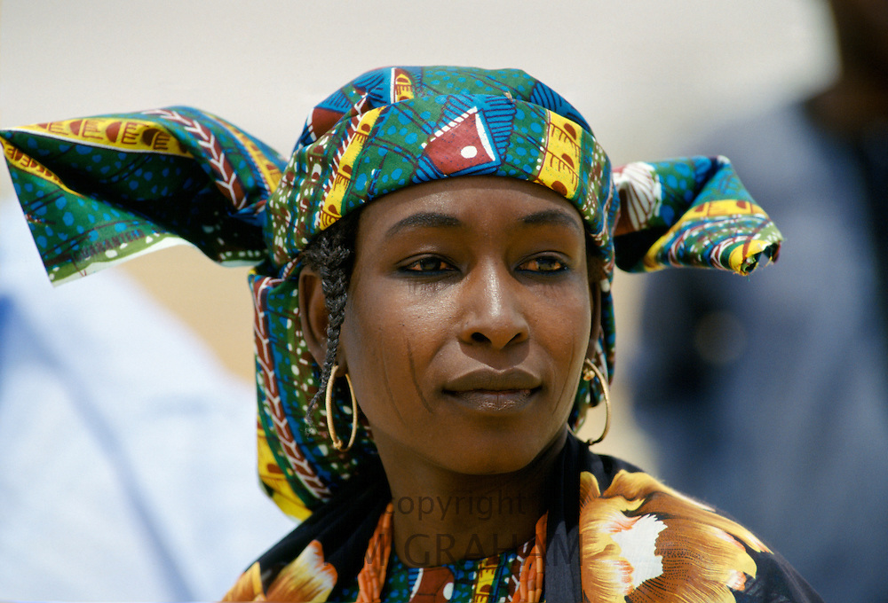 Nigerian woman attending a tribal gathering durbar cultural festival at Maiduguri in Nigeria, West Africa