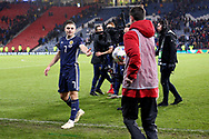Scotland forward James Forrest (7) (Celtic) hat trick hero gets handed a match ball during the UEFA Nations League match between Scotland and Israel at Hampden Park, Glasgow, United Kingdom on 20 November 2018.