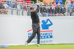June 22, 2018 - Madison, WI, U.S. - MADISON, WI - JUNE 22: Paul Broadhurst tees off on the first tee during the American Family Insurance Championship Champions Tour golf tournament on June 22, 2018 at University Ridge Golf Course in Madison, WI. (Photo by Lawrence Iles/Icon Sportswire) (Credit Image: © Lawrence Iles/Icon SMI via ZUMA Press)