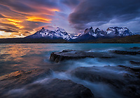 Sunset and rough waters on Lago Pehoe, Torres del Paine National Park, Chile