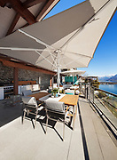 beautiful terrace of a luxury house, lake view