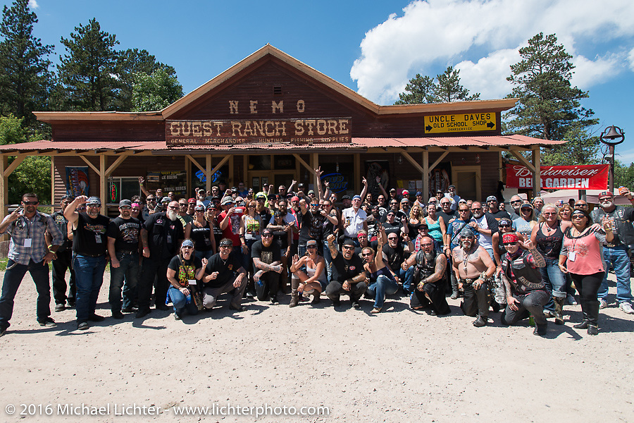 Group photo at the Nemo Guest Ranch on the Annual Cycle Source and Michael Lichter Rides (combined this year) left from the new Broken Spoke area of the Iron Horse Saloon during the Sturgis Black Hills Motorcycle Rally. SD, USA.  Wednesday, August 10, 2016.  Photography ©2016 Michael Lichter.