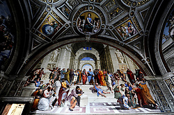 June 1, 2017 - Vatican - Today the Vatican Museums have been inaugurated by the new lighting of the four rooms of Raffaello. Osram, the leading lighting company, has been able to trace a natural light path that enhances the colors of the frescoes in the 4 rooms painted by the genius of Urbino, Raffaello (Credit Image: © Andrea Franceschini/Pacific Press via ZUMA Wire)