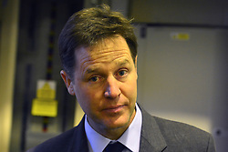 © Licensed to London News Pictures. 19/12/2013. Sutton, UK. NICK CLEGG. Deputy Prime Minister and Liberal Democrat Leader Nick Clegg and Sutton and Cheam MP Paul Burstow visit Nu-Flame – a successful local company making fireplaces at the heart of the Kimpton Park Business Improvement District (BID). The pair met with workers and managers at the factory to learn about the success of the BID. Photo credit : Stephen Simpson/LNP
