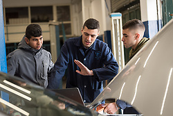 25 February 2020, Jerusalem: Emad Hamad leads class for prospective auto-electricians. The Lutheran World Federation's vocational training centre in Beit Hanina offers vocational training for Palestinian youth across a range of different professions, providing them with the tools needed to improve their chances of finding work.