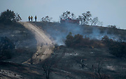 Firefighters keep watch the hot spots from a wildfire, Monday, Sept. 4, 2017, in the Sunland-Tujunga of Los Angeles, the United States, on Sept. 4, 2017. More than 1,000 firefighters work for a fourth day to put out a 7,000-acre brushfire that is 30 percent contained, as the last of the residents ordered to evacuate the record-setting blaze were expected to return to their homes authorities said. (Xinhua/Zhao Hanrong)(Photo by Ringo Chiu)<br /> <br /> Usage Notes: This content is intended for editorial use only. For other uses, additional clearances may be required.
