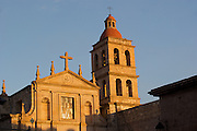 View of the Templo de la Cruz or Temple of the Cross in Morelia, Michoacan state Mexico. The city is a UNESCO World Heritage Site and hosts one of the best preserved collection of Spanish Colonial architecture in the world. The church was built by Father Don Nicolás de la Serna, between 1680 and 1690.