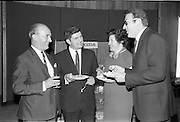 """17/09/1968<br /> 09/17/1968<br /> 17 September 1968<br /> Roma Foods launch new cookery competition at a reception in Liberty Hall, Dublin. The """"Great Pasta Recipe Competition"""" was sponsored by Roma Food Products Ltd. in conjunction with Alitalia Airlines and the Italian State Tourist Office. Picture shows (l-r): Mr D.J. Fitzpatrick, Sales Manager, Alitalia Airlines, with Miss Honor Moore and Mr Jimmy Flahive, both of whom would judge the competition and Dr Francesco Landuzzi, Director of The Italian State Tourist Office, Dublin."""