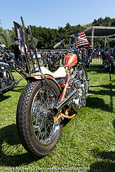 Thom Jones' Harley-Davidson Panhead in the custom bike guest corral at the Born Free Motorcycle Show (BF11) at Oak Canyon Ranch, Silverado  CA, USA. Saturday, June 22, 2019. Photography ©2019 Michael Lichter.