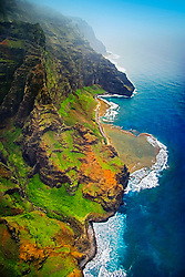 Nu`alolo or Nu`alolo Valley, 'Fat Man's Misery' rock, coral reef and Nu`alolo Kai or Nualolo Kai beach, Na Pali coast, Kauai, Hawaii, Pacific Ocean